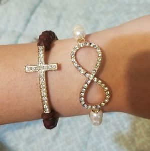 Jewelry - New Cross and Infinity rhinestone braceletes